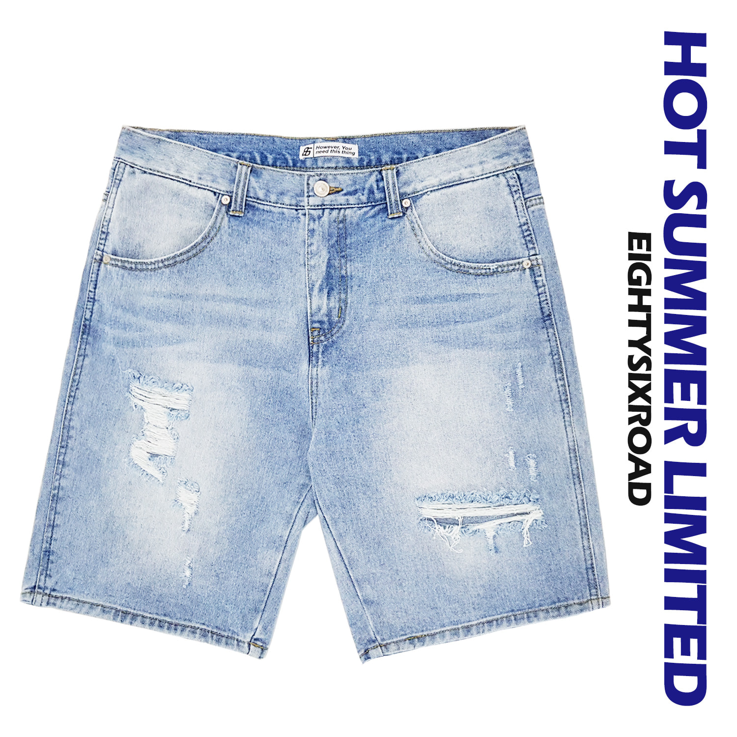 1613 Washing destroyed denim shorts