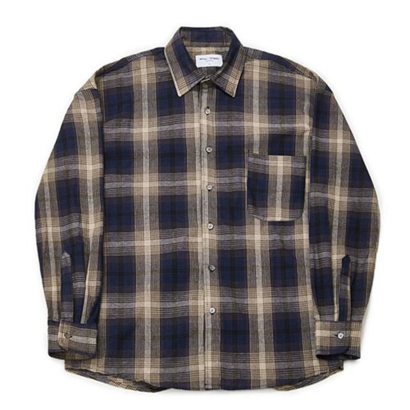 [PARTIMENTO x 86]Semiover Plaid Check Shirts (Navy)